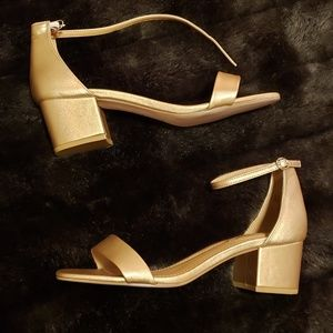 Gold Ankle-strap block heels size 10